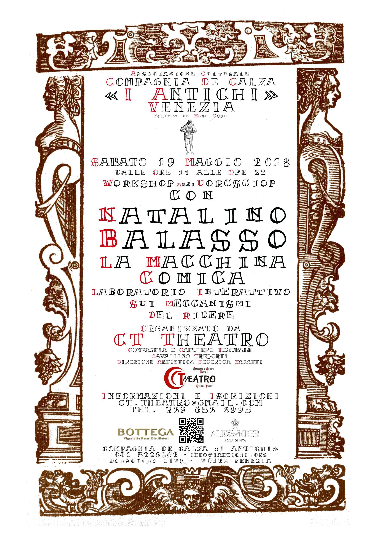 Sabato 19 Maggio 2018 - Natalino Balasso Workshop anzi Uorcsciop
