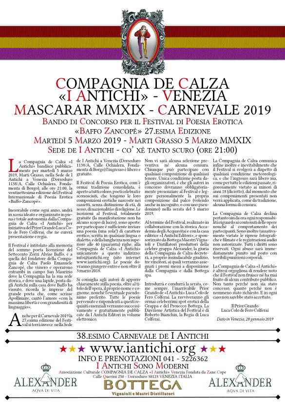 BANDO - 27. Festival Internazionale di Poesia Erotica Baffo Zancopè - Marti Grasso 5 Marzo 2019