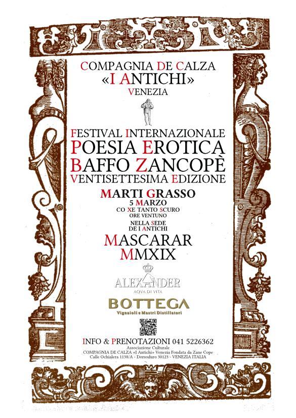 27. Festival Internazionale di Poesia Erotica Baffo Zancopè - Marti Grasso 5 Marzo 2019
