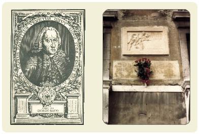 Ritratto di Zorzi Baffo e lapide provvisoria sulla facciata di Palazzo Bellavite in Campo San Maurizio.