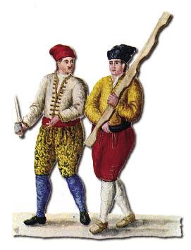 Rapatumation tra Castelani e Nicoloti Nuove Forze d'Ercole - Castellano e Nicolotto (da Giovanni Grevembroch, Gli abiti de veneziani di quasi ogni età con diligenza raccolti e dipinti nel secolo XVIII).