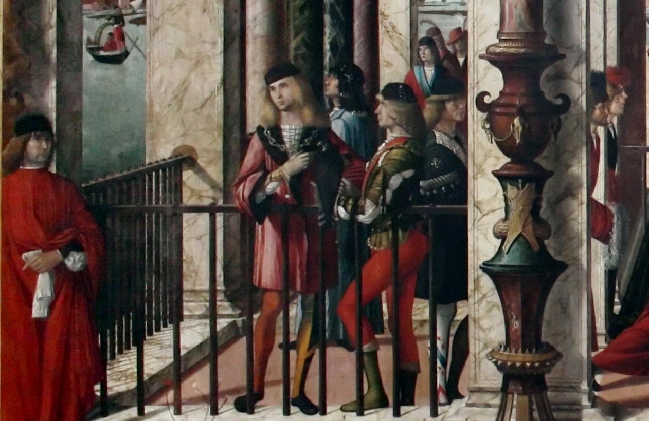 Compagni di calza nel Ciclo di Sant'Orsola di Vittore Carpaccio (Arrivo degli ambasciatori inglesi presso il re di Bretagna, 1495~1500 olio su tela,  275 cm x  589 cm; Gallerie dell'Accademia, Venezia; fonte wikimedia.org).